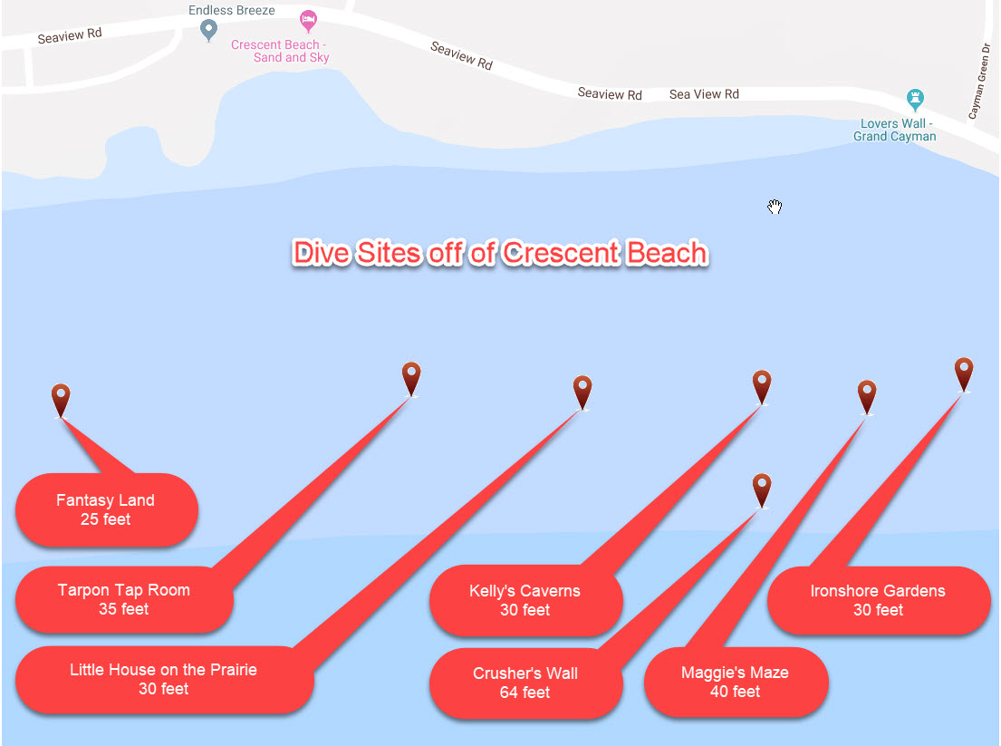 Map of Crescent Beach dive sites